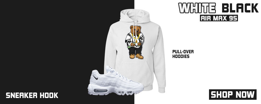 Air Max 95 White Black Pullover Hoodies to match Sneakers | Hoodies to match Nike Air Max 95 White Black Shoes