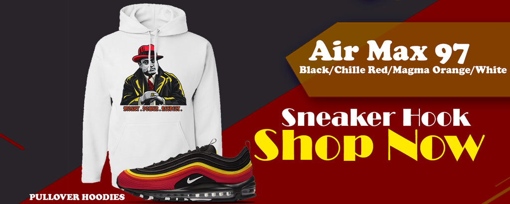 Air Max 97 Black/Chile Red/Magma Orange/White Pullover Hoodies to match Sneakers | Hoodies to match Nike Air Max 97 Black/Chile Red/Magma Orange/White Shoes