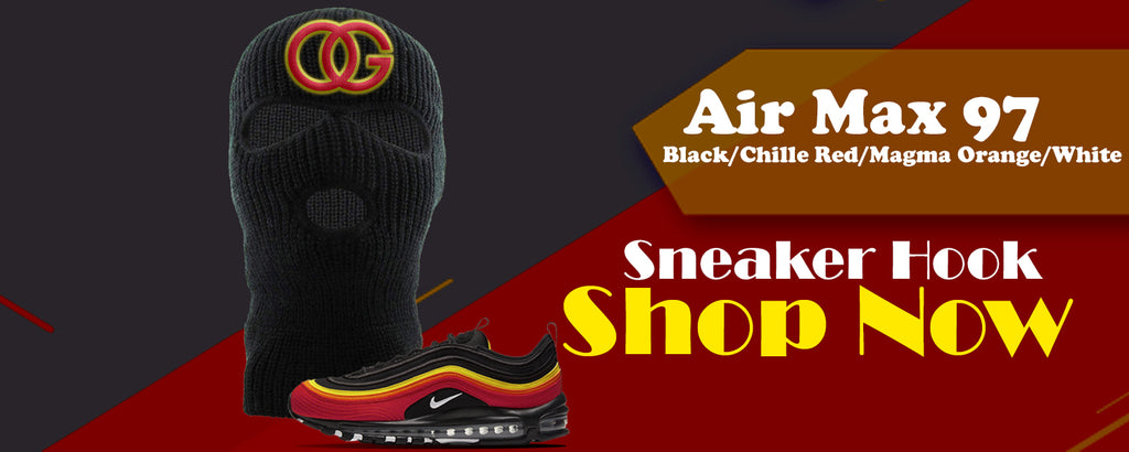 Air Max 97 Black/Chile Red/Magma Orange/White Ski Masks to match Sneakers | Winter Masks to match Nike Air Max 97 Black/Chile Red/Magma Orange/White Shoes