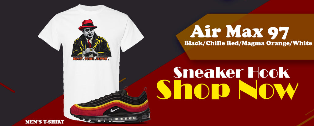 Air Max 97 Black/Chile Red/Magma Orange/White T Shirts to match Sneakers | Tees to match Nike Air Max 97 Black/Chile Red/Magma Orange/White Shoes