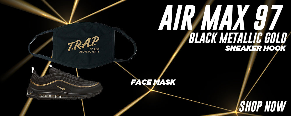 Air Max 97 Black Metallic Gold Face Mask to match Sneakers   Masks to match Nike Air Max 97 Black Metallic Gold Shoes