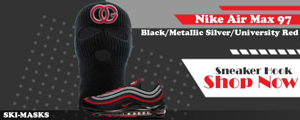 Air Max 97 Black/Metallic Silver/University Red Ski Masks to match Sneakers | Winter Masks to match Nike Air Max 97 Black/Metallic Silver/University Red Shoes