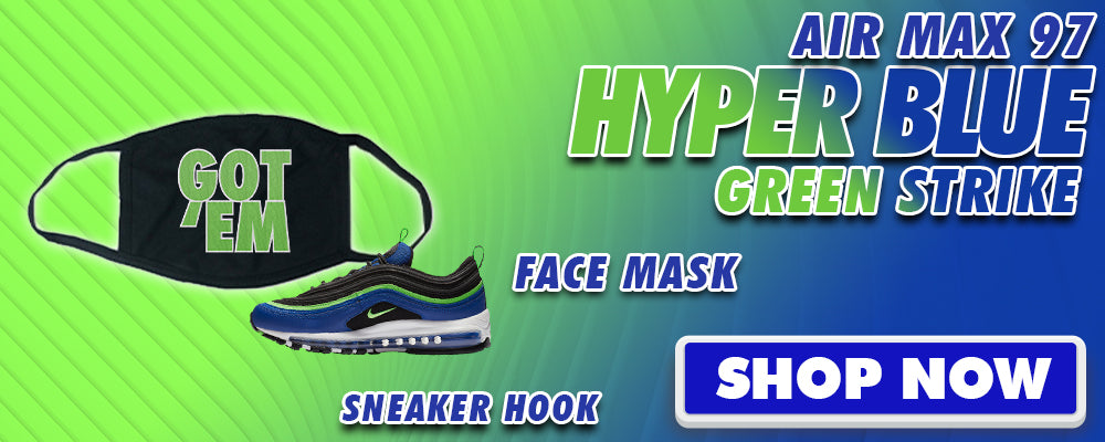 Air Max 97 Hyper Blue Green Strike Face Mask to match Sneakers | Masks to match Nike Air Max 97 Hyper Blue Green Strike Shoes