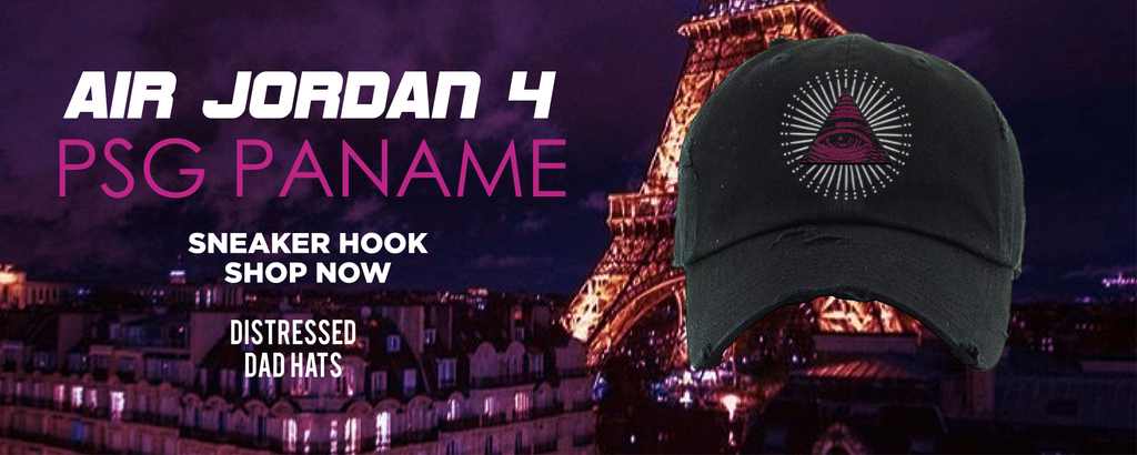 Air Jordan 4 PSG Paname Distressed Dad Hats to match Sneakers | Hats to match Nike Air Jordan 4 PSG Paname Shoes