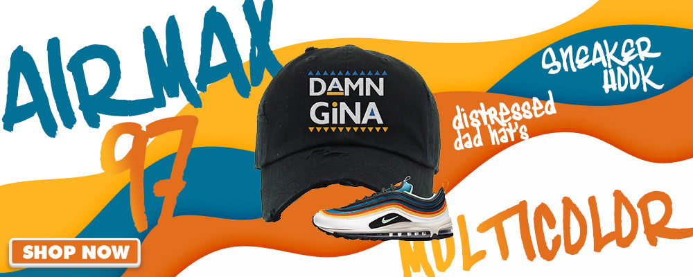 Air Max 97 Multi-Color Distressed Dad Hats to match Sneakers | Hats to match Nike Air Max 97 Multi-Color Shoes