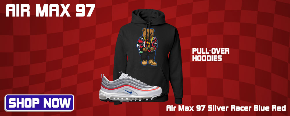 Air Max 97 Silver Racer Blue Red Pullover Hoodies to match Sneakers | Hoodies to match Nike Air Max 97 Silver Racer Blue Red Shoes