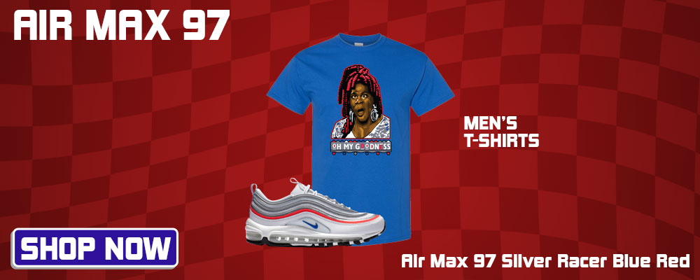 Air Max 97 Silver Racer Blue Red T Shirts to match Sneakers | Tees to match Nike Air Max 97 Silver Racer Blue Red Shoes