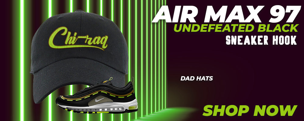 Air Max 97 UNDEFEATED Black Distressed Dad Hats to match Sneakers | Hats to match Nike Air Max 97 UNDEFEATED Black Shoes