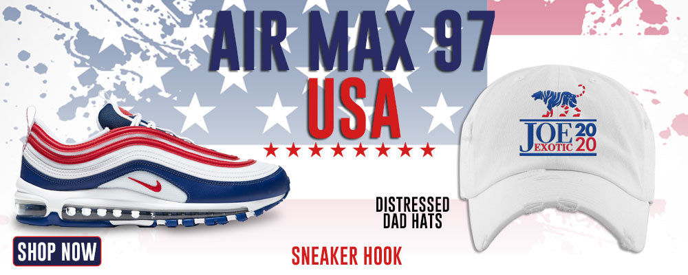 Air Max 97 USA Distressed Dad Hats to match Sneakers | Hats to match Nike Air Max 97 USA Shoes