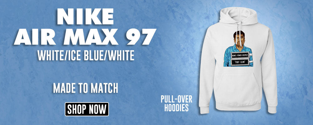 Air Max 97 White/Ice Blue/White Pullover Hoodies to match Sneakers | Hoodies to match Nike Air Max 97 White/Ice Blue/White Shoes