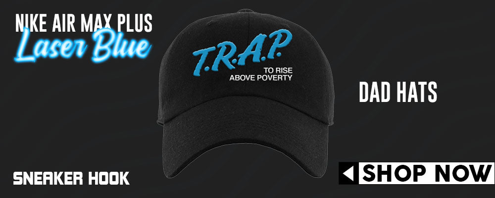 Air Max Plus Black and Laser Blue Dad Hats to match Sneakers | Hats to match Nike Air Max Plus Black and Laser Blue Shoes