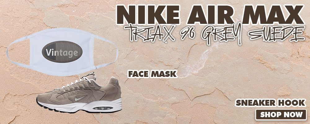 Air Max Triax 96 Grey Suede Face Mask to match Sneakers | Masks to match Nike Air Max Triax 96 Grey Suede Shoes