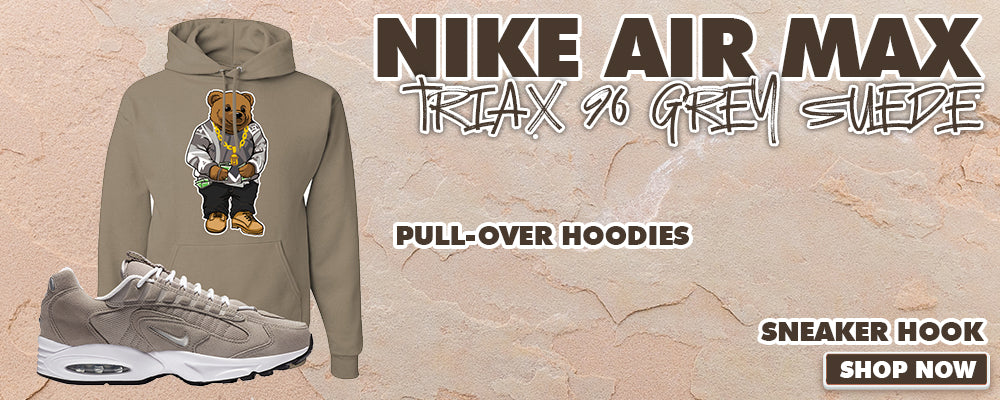 Air Max Triax 96 Grey Suede Pullover Hoodies to match Sneakers | Hoodies to match Nike Air Max Triax 96 Grey Suede Shoes