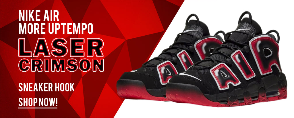 Apparels and headwears to match Nike Air More Uptempo Laser Crimson Sneakers