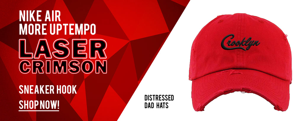 Distressed Dad Hats to match Nike Air More Uptempo Laser Crimson Sneakers