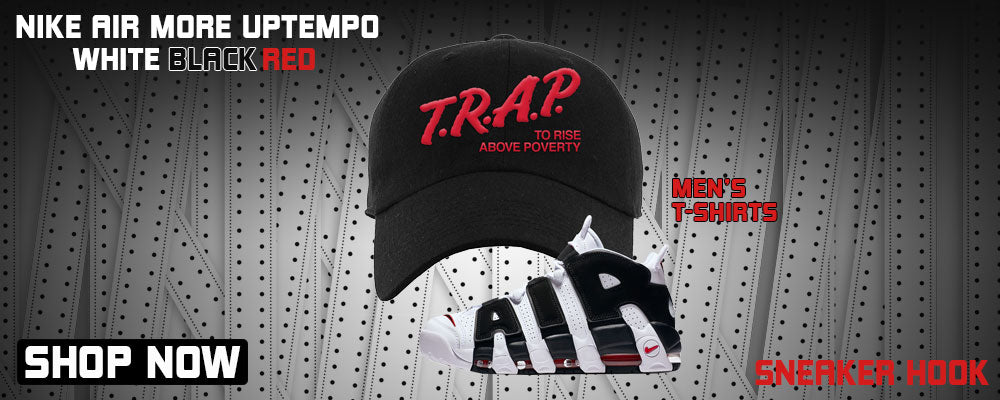 Air More Uptempo White Black Red Dad Hats to match Sneakers | Hats to match Nike Air More Uptempo White Black Red Shoes