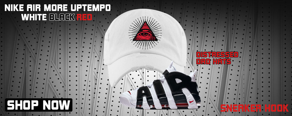Air More Uptempo White Black Red Distressed Dad Hats to match Sneakers | Hats to match Nike Air More Uptempo White Black Red Shoes
