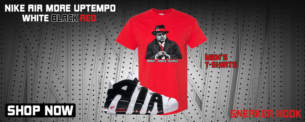 Air More Uptempo White Black Red T Shirts to match Sneakers | Tees to match Nike Air More Uptempo White Black Red Shoes