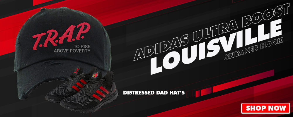 Ultra Boost 1.0 Louisville Distressed Dad Hats to match Sneakers | Hats to match Adidas Ultra Boost 1.0 Louisville Shoes