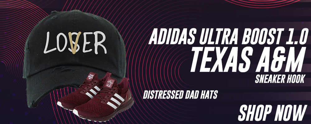 Ultra Boost 1.0 Texas A&M Distressed Dad Hats to match Sneakers | Hats to match Adidas Ultra Boost 1.0 Texas A&M Shoes
