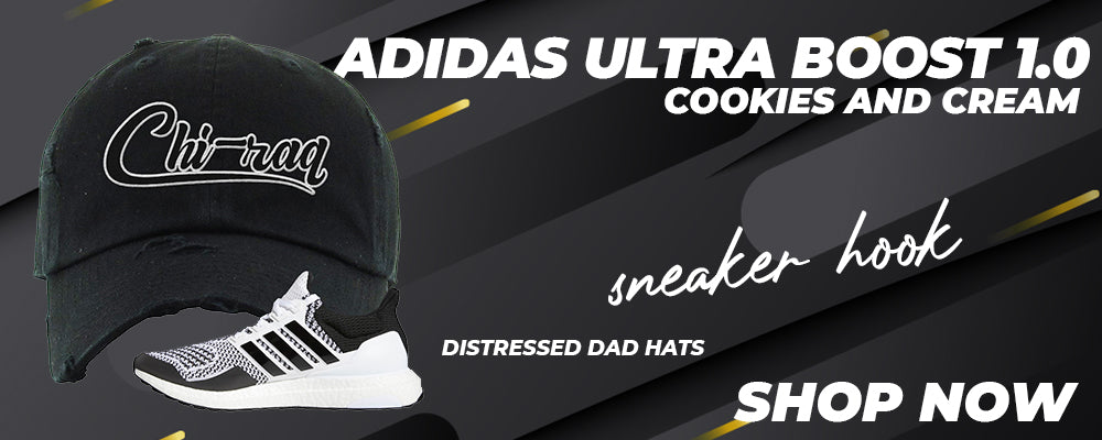 Ultra Boost 1.0 Cookies and Cream Distressed Dad Hats to match Sneakers | Hats to match Adidas Ultra Boost 1.0 Cookies and Cream Shoes