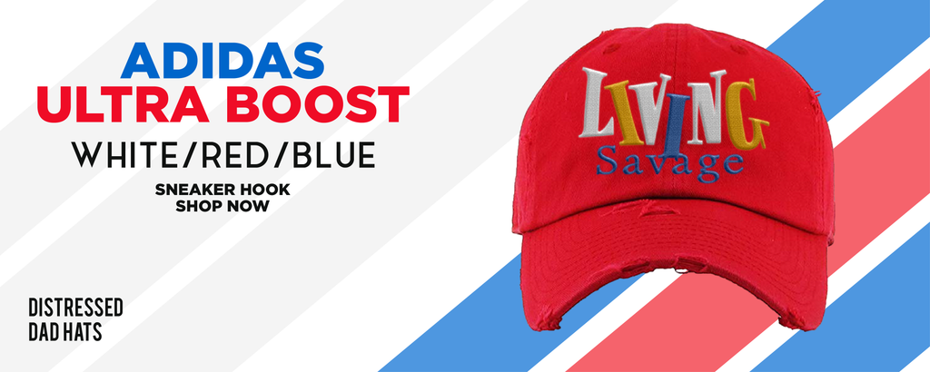 Ultra Boost White Red Blue Distressed Dad Hats to match Sneakers | Hats to match Adidas Ultra Boost White Red Blue Shoes