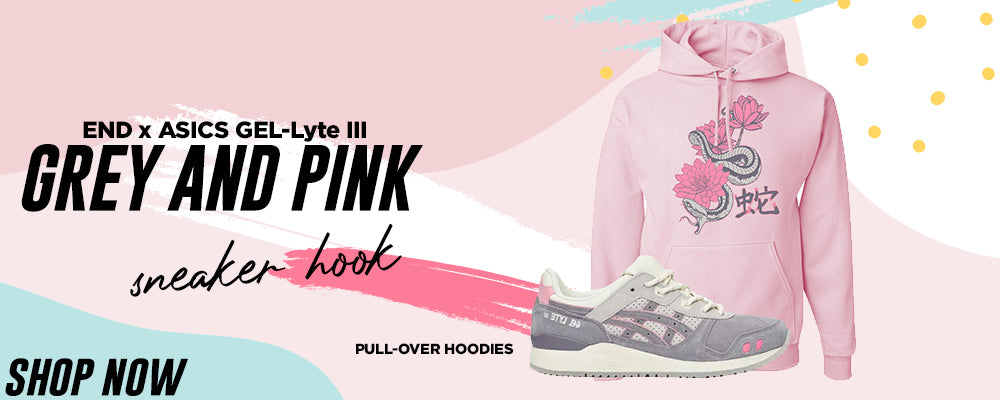 GEL-Lyte III x END Grey And Pink Pullover Hoodies to match Sneakers | Hoodies to match ASICS GEL-Lyte III x END Grey And Pink Shoes
