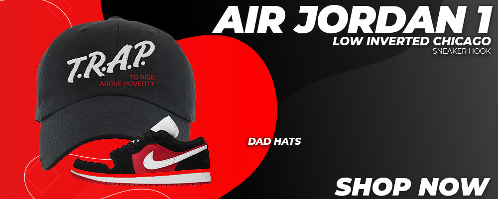 Air Jordan 1 Low Inverted Chicago Dad Hats to match Sneakers | Hats to match Nike Air Jordan 1 Low Inverted Chicago Shoes
