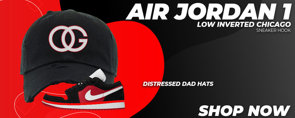 Air Jordan 1 Low Inverted Chicago Distressed Dad Hats to match Sneakers | Hats to match Nike Air Jordan 1 Low Inverted Chicago Shoes