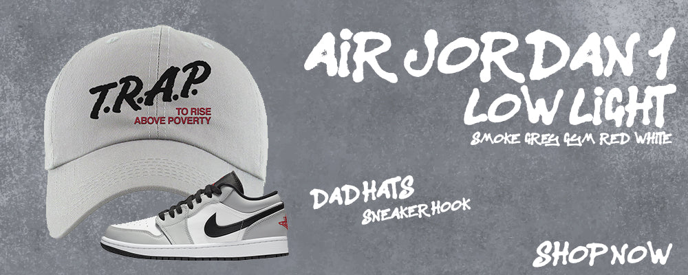 Air Jordan 1 Low Light Smoke Grey/Gym Red/White Dad Hats to match Sneakers | Hats to match Nike Air Jordan 1 Low Light Smoke Grey/Gym Red/White Shoes