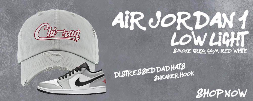 Air Jordan 1 Low Light Smoke Grey/Gym Red/White Distressed Dad Hats to match Sneakers | Hats to match Nike Air Jordan 1 Low Light Smoke Grey/Gym Red/White Shoes