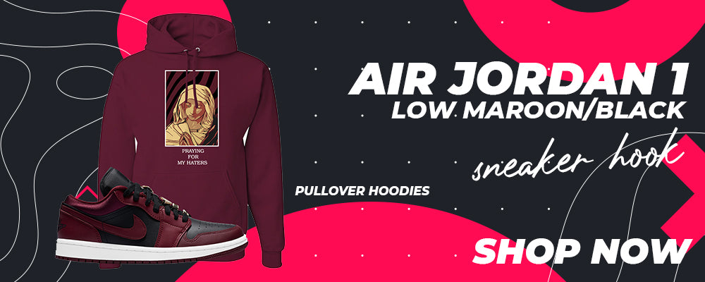 Air Jordan 1 Low Maroon / Black Pullover Hoodies to match Sneakers | Hoodies to match Nike Air Jordan 1 Low Maroon / Black Shoes