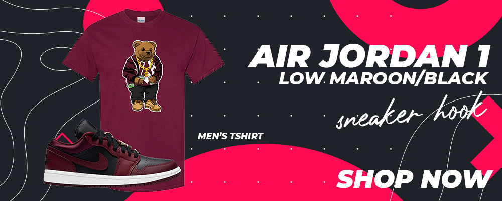 Air Jordan 1 Low Maroon / Black T Shirts to match Sneakers | Tees to match Nike Air Jordan 1 Low Maroon / Black Shoes