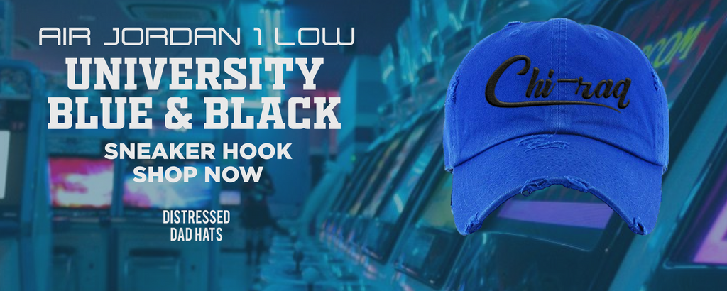 Air Jordan 1 Low University Blue / Black Distressed Dad Hats to match Sneakers | Hats to match Nike Air Jordan 1 Low University Blue / Black Shoes