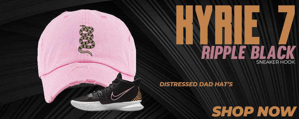 Kyrie 7 Ripple Black Distressed Dad Hats to match Sneakers | Hats to match Nike Kyrie 7 Ripple Black Shoes
