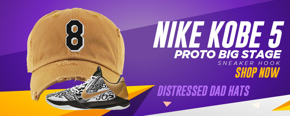 Kobe 5 Protro Big Stage Distressed Dad Hats to match Sneakers   Hats to match Nike Kobe 5 Protro Big Stage Shoes