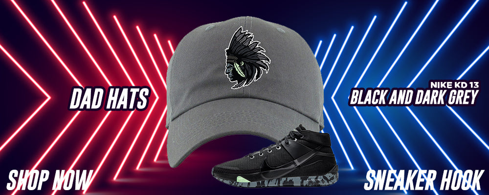 KD 13 Black And Dark Grey Dad Hats to match Sneakers | Hats to match Nike KD 13 Black And Dark Grey Shoes