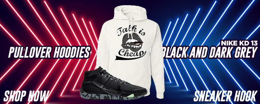 KD 13 Black And Dark Grey Pullover Hoodies to match Sneakers | Hoodies to match Nike KD 13 Black And Dark Grey Shoes