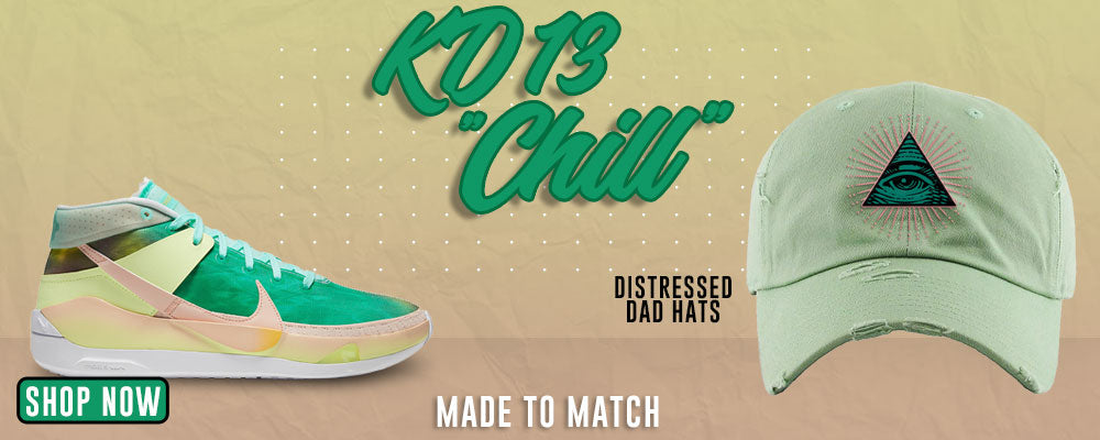 KD 13 Chill Distressed Dad Hats to match Sneakers   Hats to match Nike KD 13 Chill Shoes