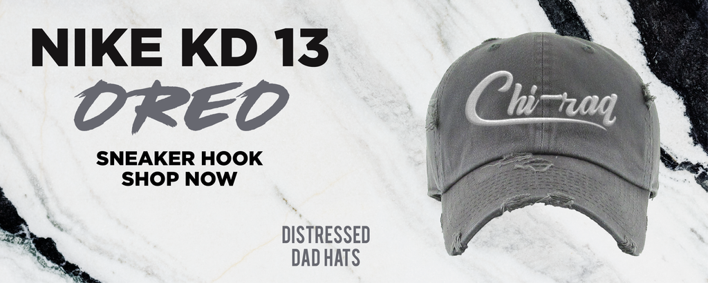 KD 13 Oreo Distressed Dad Hats to match Sneakers | Hats to match Nike KD 13 Oreo Shoes