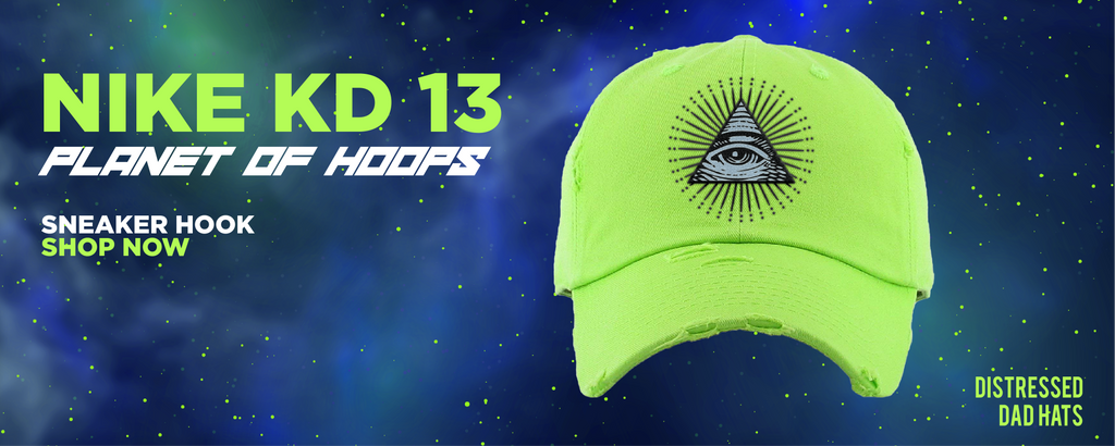 KD 13 Planet of Hoops Distressed Dad Hats to match Sneakers | Hats to match Nike KD 13 Planet of Hoops Shoes