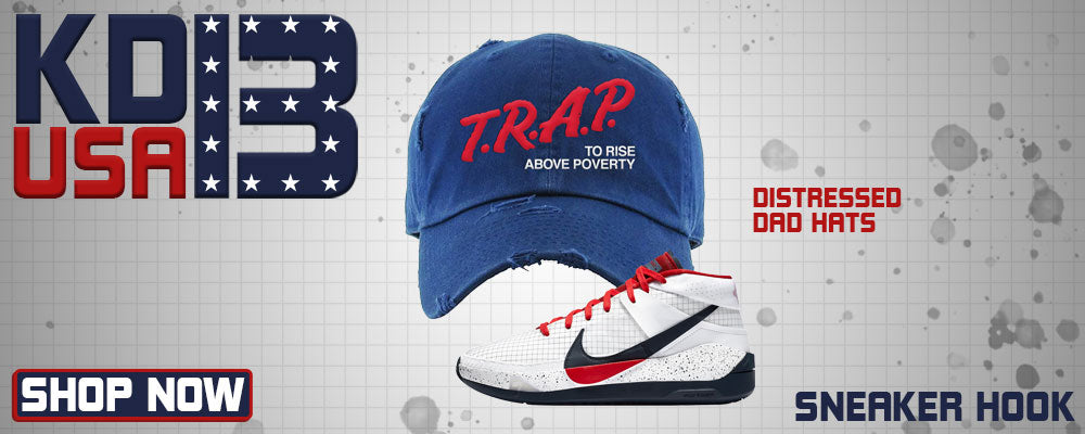 KD 13 USA Distressed Dad Hats to match Sneakers | Hats to match Nike KD 13 USA Shoes