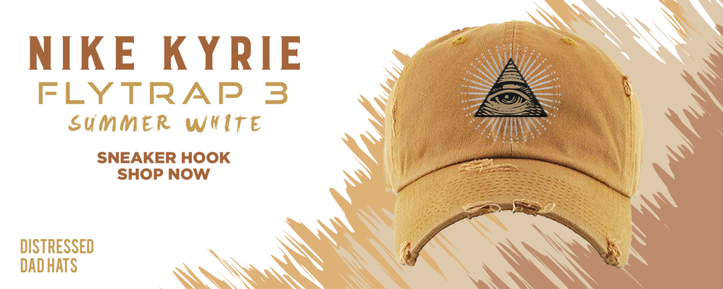 Kyrie Flytrap 3 Summit White Distressed Dad Hats to match Sneakers | Hats to match Nike Kyrie Flytrap 3 Summit White Shoes