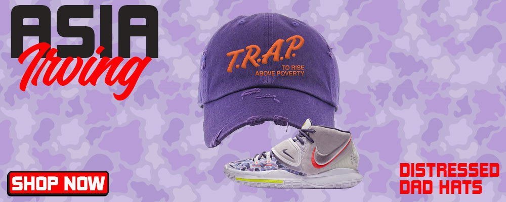 Kyrie 6 Asia Irving Distressed Dad Hats to match Sneakers | Hats to match Nike Kyrie 6 Asia Irving Shoes