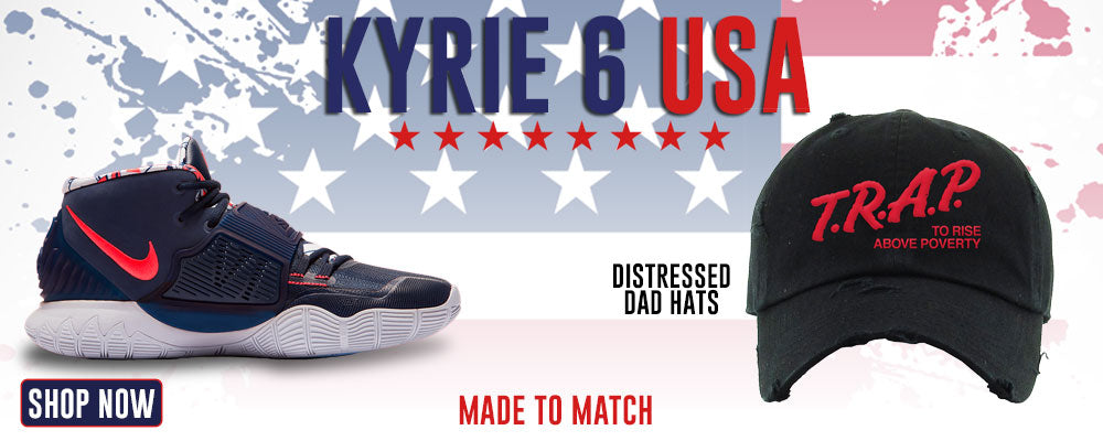 Kyrie 6 USA Distressed Dad Hats to match Sneakers | Hats to match Nike Kyrie 6 USA Shoes