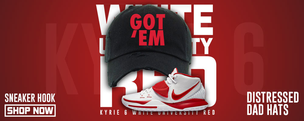 Kyrie 6 White University Red Distressed Dad Hats to match Sneakers | Hats to match Nike Kyrie 6 White University Red Shoes