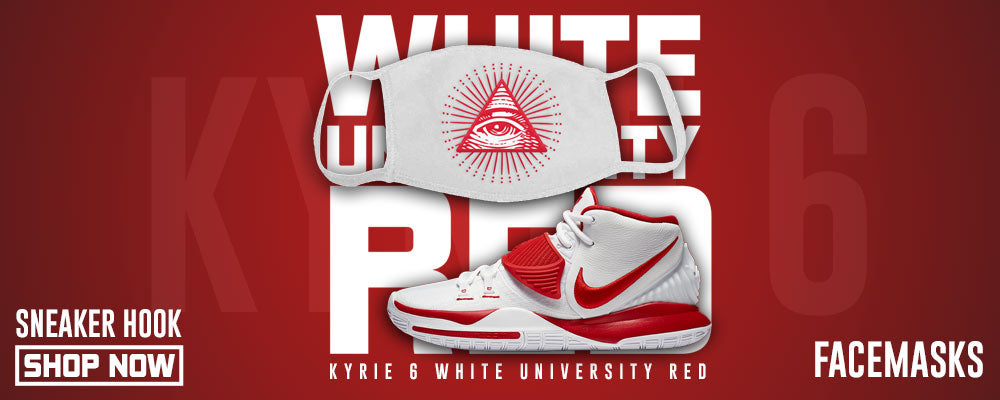 Kyrie 6 White University Red Face Mask to match Sneakers | Masks to match Nike Kyrie 6 White University Red Shoes