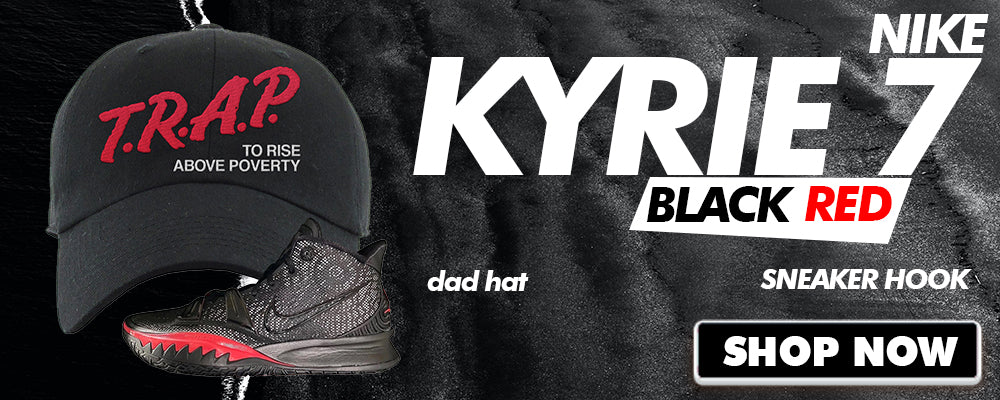Kyrie 7 Black Red Dad Hats to match Sneakers | Hats to match Nike Kyrie 7 Black Red Shoes