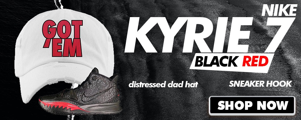 Kyrie 7 Black Red Distressed Dad Hats to match Sneakers | Hats to match Nike Kyrie 7 Black Red Shoes