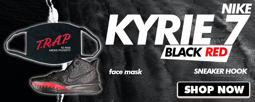 Kyrie 7 Black Red Face Mask to match Sneakers | Masks to match Nike Kyrie 7 Black Red Shoes